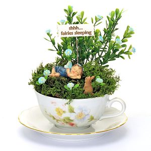 Sleeping Baby Fairy Teacup Garden