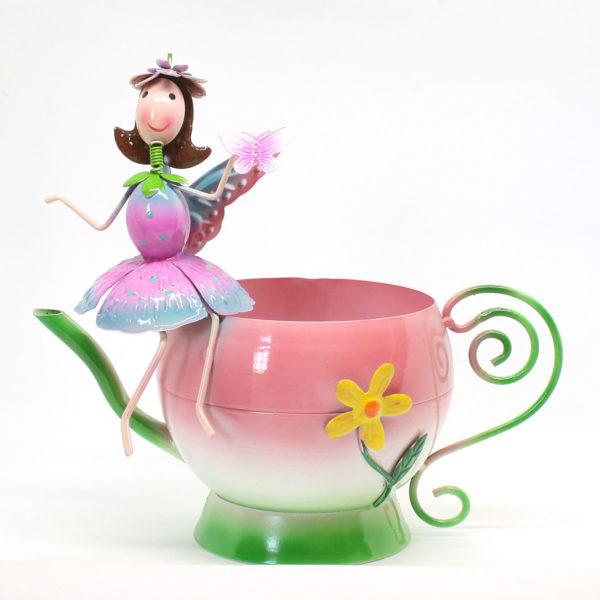 Pink Metal Teacup Planter