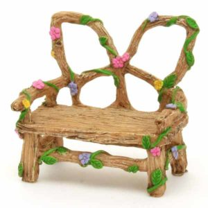 Wooden Garden Bench with Flowers