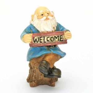Sitting Gnome with Welcome Sign