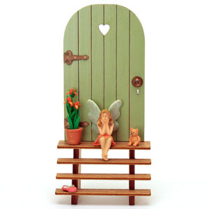 Fairy Door and Steps - Sage Green
