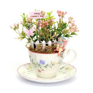 Vintage Teacup Spring Flowers