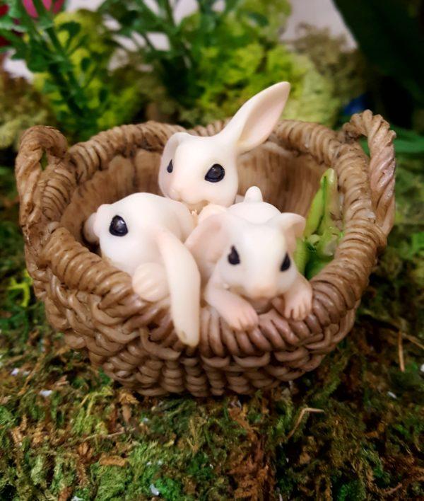 Playful Bunnies in Basket