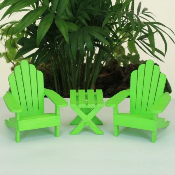 Adirondack Chairs & Table - Green